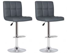 Pair of 2 Milan Grey Faux Leather Padded Seat Bar Stools 1/2 Price Deal